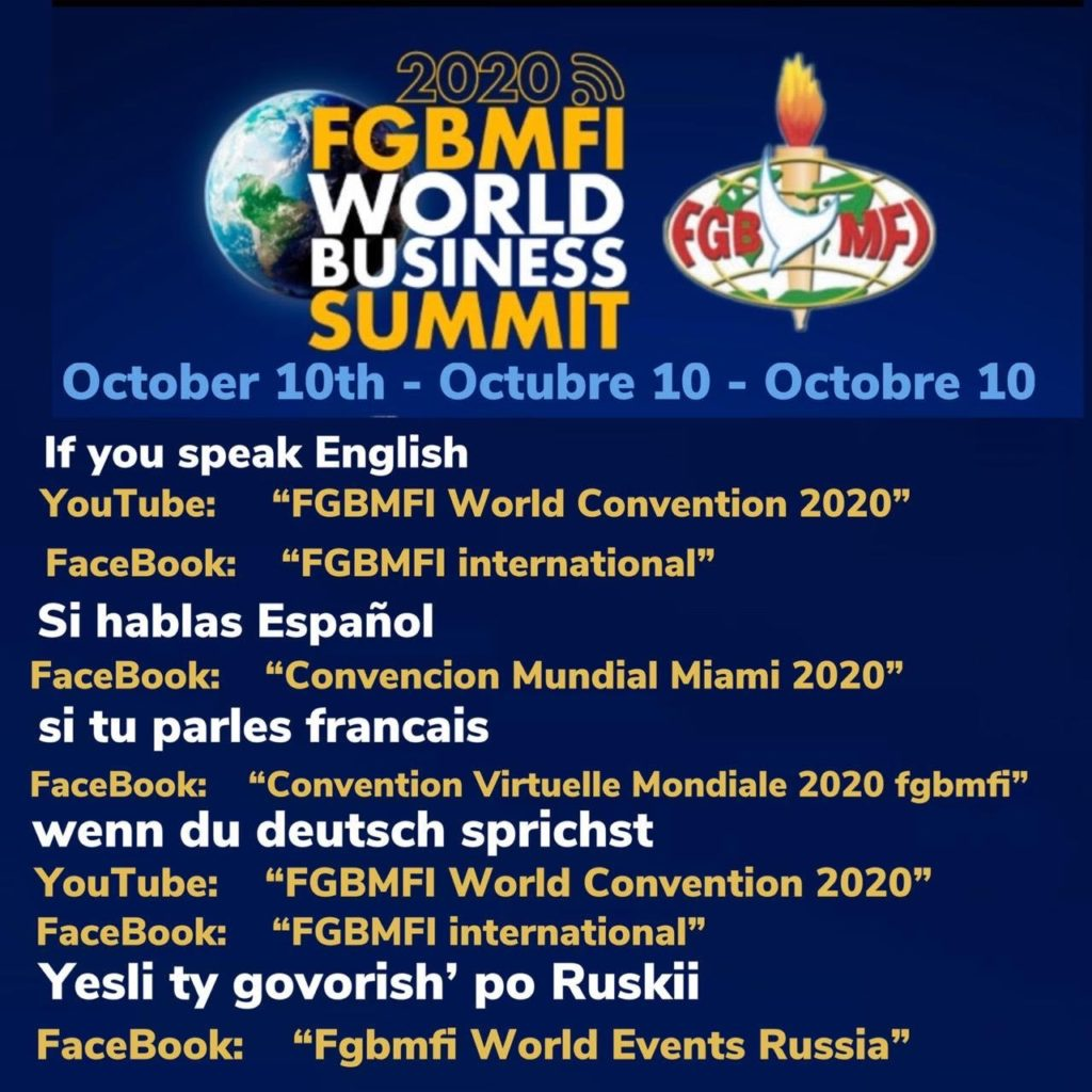 10 October: FGBMFI World Business Summit 2020